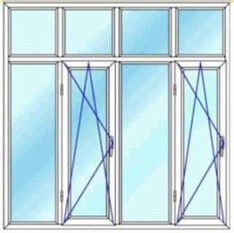 قیمت پنجره دوجداره چهار لنگه دو لنگه باز شوی دو حالته کتیبه دار